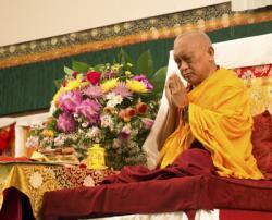 Lama Zopa Rinpoche at the Light of the Path Retreat, North Carolina, USA, May 2014. Photo: Roy Harvey.