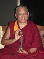 Lama Zopa Rinpoche at Kopan Monastery, Nepal, 2002.