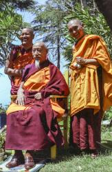 Lama Yeshe, His Holiness Zong Rinpoche and Lama Zopa Rinpoche at EEC1, Dharamsala, India, 1982.