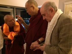 His Holiness the Dalai Lama with Geshe Tenley and Nick Ribush, Boston, MA March 2016.