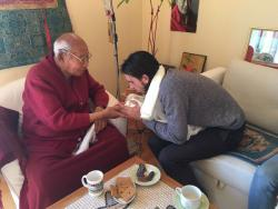 Tenzin Ösel Hita with Geshe Lobsang Tengye at Institut Vajra Yogini, France, February 2017.