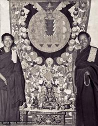 "(00004_ud-Edit.psd) Lama Zopa Rinpoche  and Lama Yeshe with a mandala applique thangka in the ""old gompa"", Kopan Monastery, 1970."