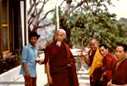 (00617_ud-2.psd) In April of 1974, H. H. Zong Rinpoche, a senior lama and teacher for Lama Yeshe, visited Kopan Monastery, Nepal, in time to give teachings during the last week of the Sixth Meditation Course. Photo includes Lama Yeshe and Lama Zopa Rinpoche.
