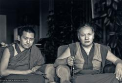 (02192_pr-2.psd) Portrait of Lama Zopa Rinpoche and Lama Yeshe, Geneva, Switzerland, 1983. Photos by Ueli Minder.