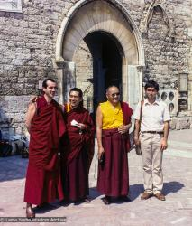 (02253_sl-3.JPG) The lamas with  Neil Huston (Thubten Dondrub) and Andrea Antonietti, Assisi, Italy, 1983. Andrea Antonietti (donor)