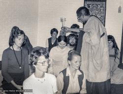 (03865_ng-3.psd) Lama Zopa Rinpoche giving initiation, Maitreya Institute, Bruchem, Netherlands, 1981. Jan-Paul Kool (photographer)