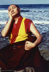 (05318_pr-2.psd) Portraits of Lama Yeshe meditating by the ocean, Sicily, 1983. Photos by Jacie Keeley.