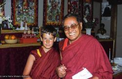(05826_ng-3.jpg) Lama Yeshe with Tenzin Sherab Rinpoche (aka Jatse Tulku or Elijah Ary), Vajrapani Institute, Boulder Creek, California, 1983. Åge  Delbanco (photographer)