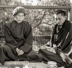 (06061_ng-3.psd) Thich Phuoc Huey with Lama Zopa Rinpoche, Queensland, Australia, 1980.