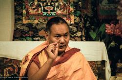 (06660_ng.JPG) Lama Yeshe teaching at Vajrapani Institute, California, 1983. Photos by Carol Royce-Wilder.