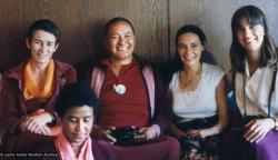 (06998_pr-3.psd) Anila Ann, Max Mathews, Lama Yeshe, Deborah Simpson, and Mary-Jane Nehring, Vancouver, CA, 1980.