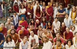 (07023_pr-2.psd) Photo from a course at Tushita Retreat Centre, Dharamsala, India, in June of 1975, taught by Geshe Rabten and translated by Gonsar Tulku. Geshe Rabten is seated and Gonsar Tulku is standing to the right of him. Many of Lama's students are in the group including Ursula Bernis, Steve Malasky (Steve Pearl), Massimo Corona, and Piero Cerri. Photo by Dan Laine.