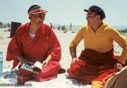 (07063_pr-3.JPG) Lama Yeshe at the beach with Geshe Lobsang Gyatso, California,1983. Åge  Delbanco (photographer)