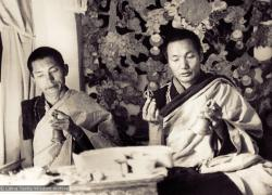 "(07598_pr-2.psd) Lama Zopa Rinpoche  and Lama Yeshe doing puja (spiritual practice) in the ""old gompa"" (shrine room), Kopan Monastery, 1970."