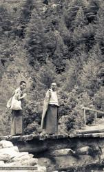 (07631_pr-2.psd) Lama Yeshe and Lama Zopa Rinpoche on the road to Lawudo Retreat Centre, Nepal, 1973. Lama Zopa Rinpoche is on the left in the photo.