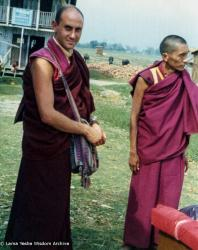(07637_pr.JPG) Nick Ribush and Lama Zopa Rinpoche, Bhadrapur, East Nepal, February 22, 1975. Photo by Lama Yeshe.