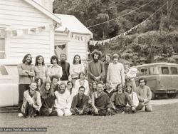 (07674_ng.JPG) A group photo with the lamas at an early course in New Zealand, 1974.