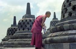 (08021_ng.JPG) Lama Zopa Rinpoche at Borobodur, Java, 1979.