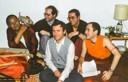 (08133_ng-3.JPG) Lama (the Chihuahua) and Lama Yeshe with Jon Landaw, Harvey Horrocks, Thubten Pende (Jim Dougherty), and George Churinoff, Istituto Lama Tzong Khapa, Pomaia, Italy, 1982.