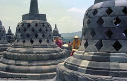 (08174_ng.JPG) Lama Yeshe and Lama Zopa Rinpoche at Borobodur, Java, 1979.