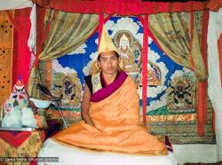 (08303_ng-3.psd) Lama Zopa Rinpoche in ceremonial dress at enthronement of Yangsi Rinpoche, 1975.