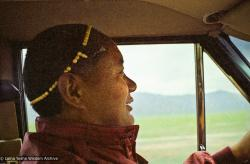 (08315_ng-3.psd) Lama Yeshe driving to Reno with Anila Ann and  John Feuille, 1980.