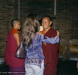 (09297_ng.JPG) Lama Yeshe at a teaching given at Columbia University. In July 1974, the lamas and Mummy Max arrived in New York City to begin the first international teaching tour of Lama Yeshe and Lama Zopa Rinpoche. They stayed at the apartment of Lynda Millspaugh on the Upper West side of Manhattan.