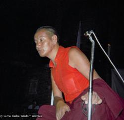 (09298_ng.JPG) Lama Yeshe at a teaching given at Columbia University. In July 1974, the lamas and Mummy Max arrived in New York City to begin the first international teaching tour of Lama Yeshe and Lama Zopa Rinpoche. They stayed at the apartment of Lynda Millspaugh on the Upper West side of Manhattan.