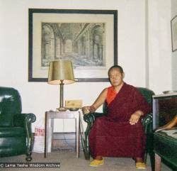 (09304_ng.JPG) Lama Yeshe at a teaching given at Columbia University. In July 1974, the lamas and Mummy Max arrived in New York City to begin the first international teaching tour of Lama Yeshe and Lama Zopa Rinpoche. They stayed at the apartment of Lynda Millspaugh on the Upper West side of Manhattan.
