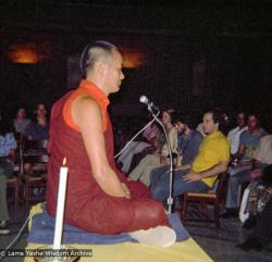 (09305_ng.JPG) Lama Yeshe at a teaching given at Columbia University. In July 1974, the lamas and Mummy Max arrived in New York City to begin the first international teaching tour of Lama Yeshe and Lama Zopa Rinpoche. They stayed at the apartment of Lynda Millspaugh on the Upper West side of Manhattan.