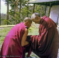 (09327_ng-3.psd) Lama Yeshe and HH Trijang Rinpoche, Tushita Retreat Centre, Dharamsala, India, 1976. In the spring of 1976, HH Trijang Rinpoche gave both novice (getsul) and full gelong ordination vows to a group of Lama Yeshe's students at Tushita Retreat Centre.