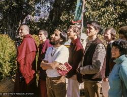(09398_sl-3.psd) Chuck Thomas, Tim McNeill and others at enthronement of Yangsi Rinpoche, 1975.