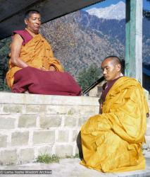 (09456_sl-2.psd) Geshe Rabten and Lama Yeshe after the first ordination of a group of western students, Dharmasala, India, 1970.
