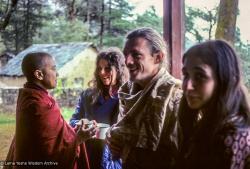 (09560_sl-3.JPG) Sister Max, Judith Diane Short (Priya), Glen Mullin, Roberta Mandel, Tushita Retreat Centre, Dharamsala, India, 1977.