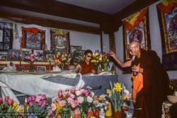 (09960_sl.JPG) Zong Rinpoche during a cycle of pujas that were done for Lama Yeshe before the formal cremation, Vajrapani Institute, California, 1984. Photo by Ricardo de Aratanha.