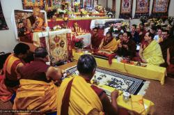 (09961_sl.JPG) A cycle of pujas were done for Lama Yeshe before the formal cremation, Vajrapani Institute, California, 1984. Photo by Ricardo de Aratanha.