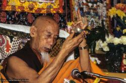 (09962_sl.JPG) Zong Rinpoche during a cycle of pujas that were done for Lama Yeshe before the formal cremation, Vajrapani Institute, California, 1984. Photo by Ricardo de Aratanha.