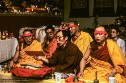 (09963_sl.JPG) A cycle of pujas were done for Lama Yeshe before the formal cremation, Vajrapani Institute, California, 1984. Photo includes Geshe Sopa, Lama Zopa Rinpoche, Geshe Gyeltsen, GesheThinley, and Geshe Lobsang Gyatso. Photo by Ricardo de Aratanha.