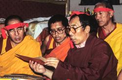 (09964_sl.JPG) A cycle of pujas were done for Lama Yeshe before the formal cremation, Vajrapani Institute, California, 1984. Photo includes Geshe Sopa, Lama Zopa Rinpoche, Geshe Gyeltsen, and GesheThinley.  Photo by Ricardo de Aratanha.