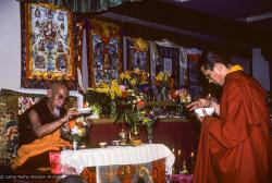 (09969_sl.JPG) A cycle of pujas were done for Lama Yeshe before the formal cremation, Vajrapani Institute, California, 1984. Photo by Ricardo de Aratanha.
