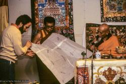 (09971_sl.JPG) A cycle of pujas were done for Lama Yeshe before the formal cremation, Vajrapani Institute, California, 1984. Photo includes Lama Zopa Rinpoche, Chuck Thomas, and Zong Rinpoche. Photo by Ricardo de Aratanha.