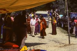 (10024_sl.JPG) Lama Zopa Rinpoche leading the procession to the cremation of Lama Yeshe at Vajrapani Institute, California in March of 1984. Photo by Ricardo de Aratanha.