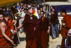 (10025_sl.JPG) Zong Rinpoche arrives at the cremation of Lama Yeshe at Vajrapani Institute, California in March of 1984. Photo by Ricardo de Aratanha.