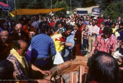 (10032_sl.JPG) Lama Yeshe's body is placed in the cremation stupa. Cremation of Lama Yeshe at Vajrapani Institute, California in March of 1984. Photo by Ricardo de Aratanha.
