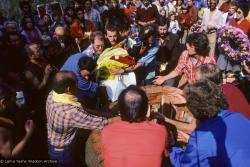 (10033_sl.JPG) Lama Yeshe's body is placed in the cremation stupa. Cremation of Lama Yeshe at Vajrapani Institute, California in March of 1984. Photo by Ricardo de Aratanha.
