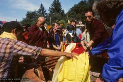 (10036_sl.JPG) Lama Yeshe's body is placed in the cremation stupa. Cremation of Lama Yeshe at Vajrapani Institute, California in March of 1984. Photo by Ricardo de Aratanha.
