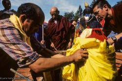 (10037_sl.JPG) Lama Yeshe's body is placed in the cremation stupa. Cremation of Lama Yeshe at Vajrapani Institute, California in March of 1984. Photo by Ricardo de Aratanha.