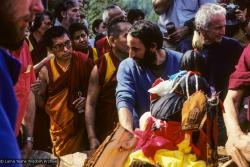 (10038_sl.JPG) Lama Yeshe's body is placed in the cremation stupa. Cremation of Lama Yeshe at Vajrapani Institute, California in March of 1984. Photo includes Lama Zopa Rinpoche, Chuck Thomas and John Schwartz. Photo by Ricardo de Aratanha.