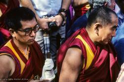 (10039_sl.JPG) Lama Zopa Rinpoche and Geshe Sopa. Cremation of Lama Yeshe at Vajrapani Institute, California in March of 1984. Photo by Ricardo de Aratanha.