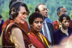 (10040_sl-3.JPG) Cremation of Lama Yeshe, Vajrapani Institute, California, 1984. Photo includes Anila Ann, Max Mathews, Massimo Corona, Geshe Thinley, and Cecily Drucker. Ricardo de Aratanha (photographer)